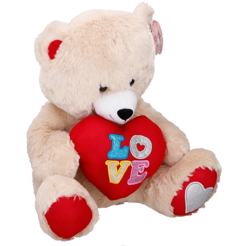 Pluche beige beer met hart 43 cm