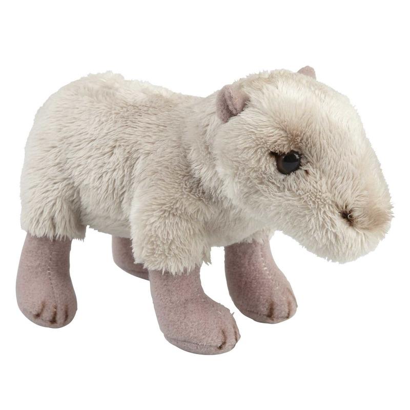 Pluche beige waterzwijn/capibara knuffel 15 cm speelgoed