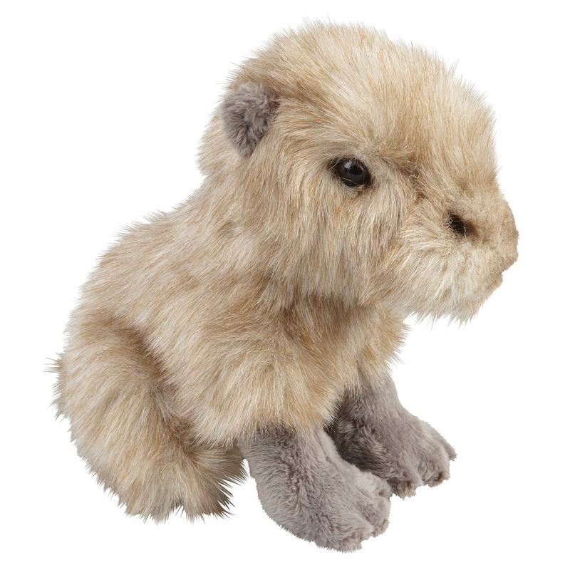 Pluche beige waterzwijn/capibara zittend knuffel 18 cm speelgoed
