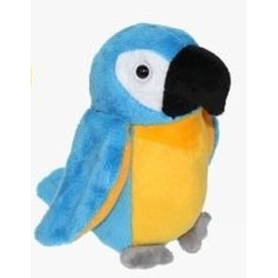 Pluche blauw/gele ara papegaai knuffel 15 cm speelgoed