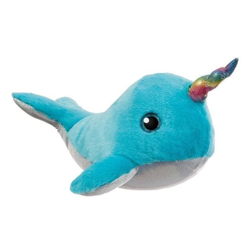 Pluche blauwe walvis/narwal knuffel 30 cm speelgoed