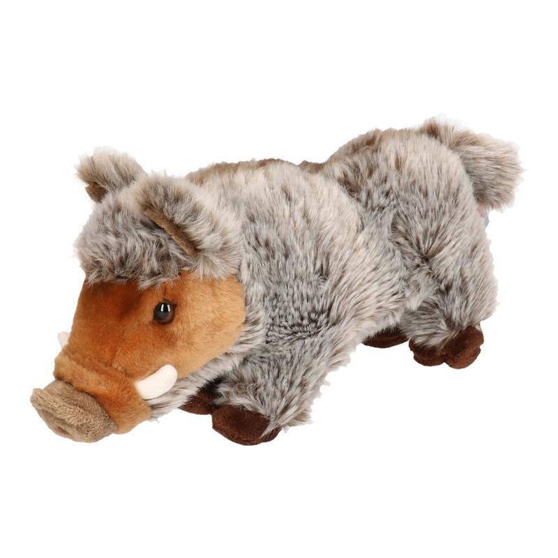 Pluche bruin/grijze wilde zwijnen knuffel 24 cm speelgoed