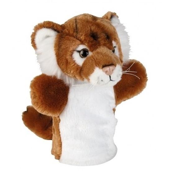 Pluche bruin/witte tijger handpop knuffel 26 cm speelgoed