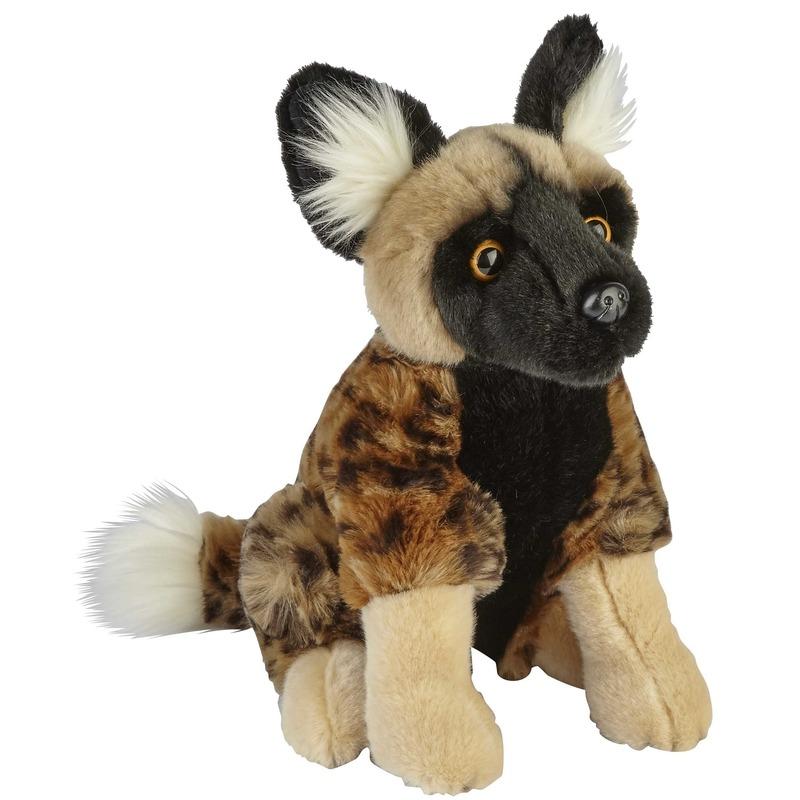 Pluche bruine Afrikaanse wilde hond/hyenahonden knuffel 28 cm
