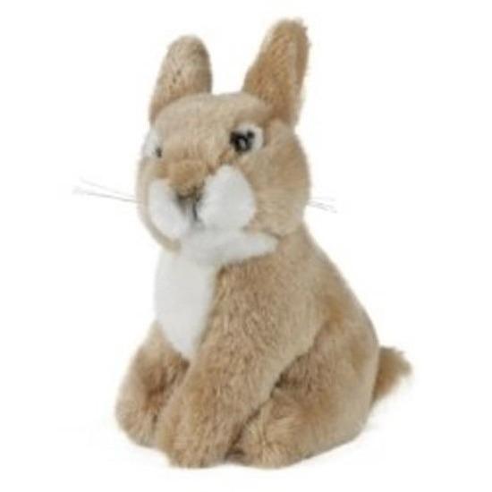 Pluche bruine baby konijn/haas knuffel 16 cm speelgoed