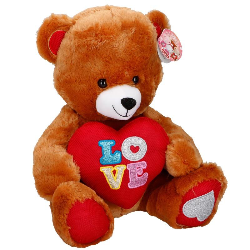 Pluche bruine beer met hart 43 cm