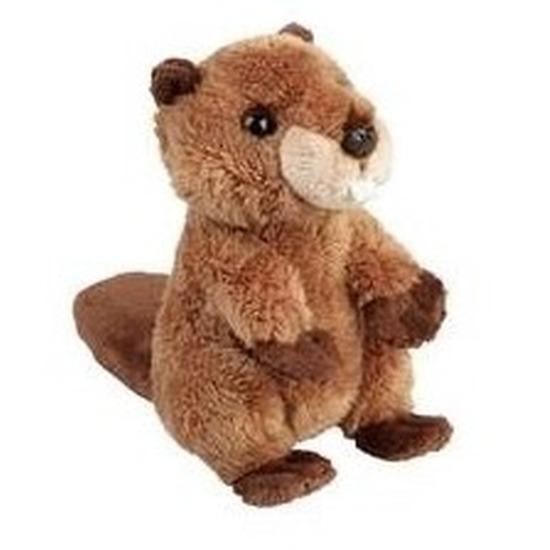 Pluche bruine bever knuffel 15 cm speelgoed