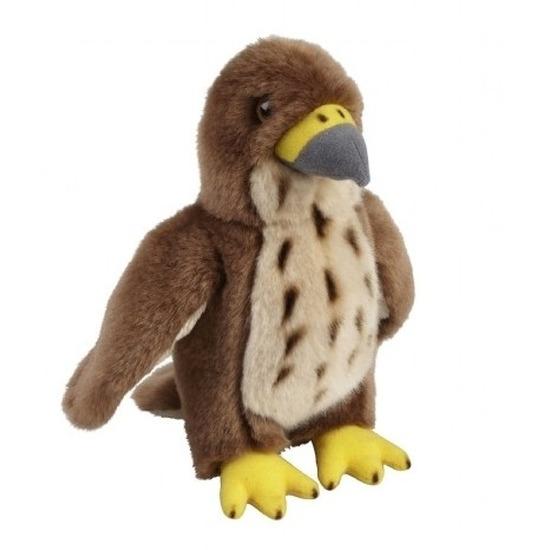 Pluche bruine havik vogel knuffel 18 cm speelgoed