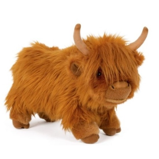 Pluche bruine Schotse hooglander koe/koeien knuffel 30 cm