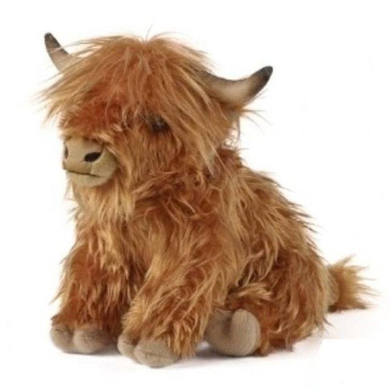Pluche bruine Schotse hooglander koe/koeien knuffel met geluid