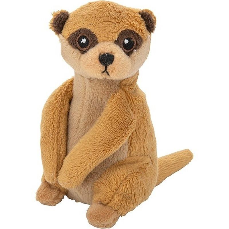 Pluche bruine stokstaartje knuffel 13 cm baby speelgoed