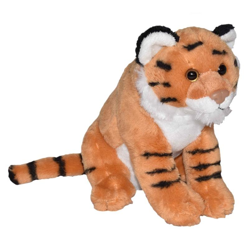 Pluche bruine tijger knuffel met geluid 20 cm speelgoed