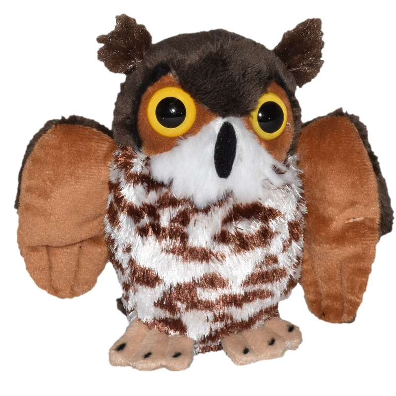 Pluche bruine uil knuffel vogel 12 cm speelgoed