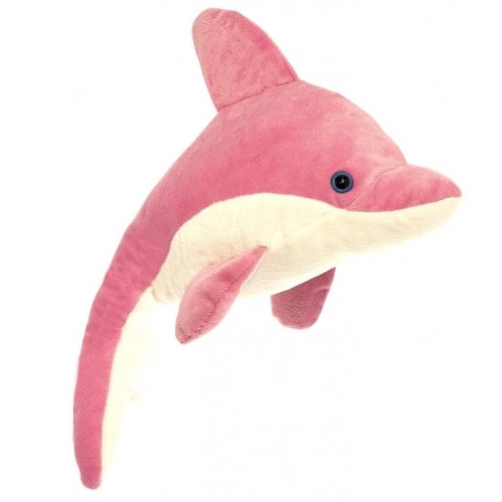 Pluche dolfijn knuffel roze/wit 23 cm