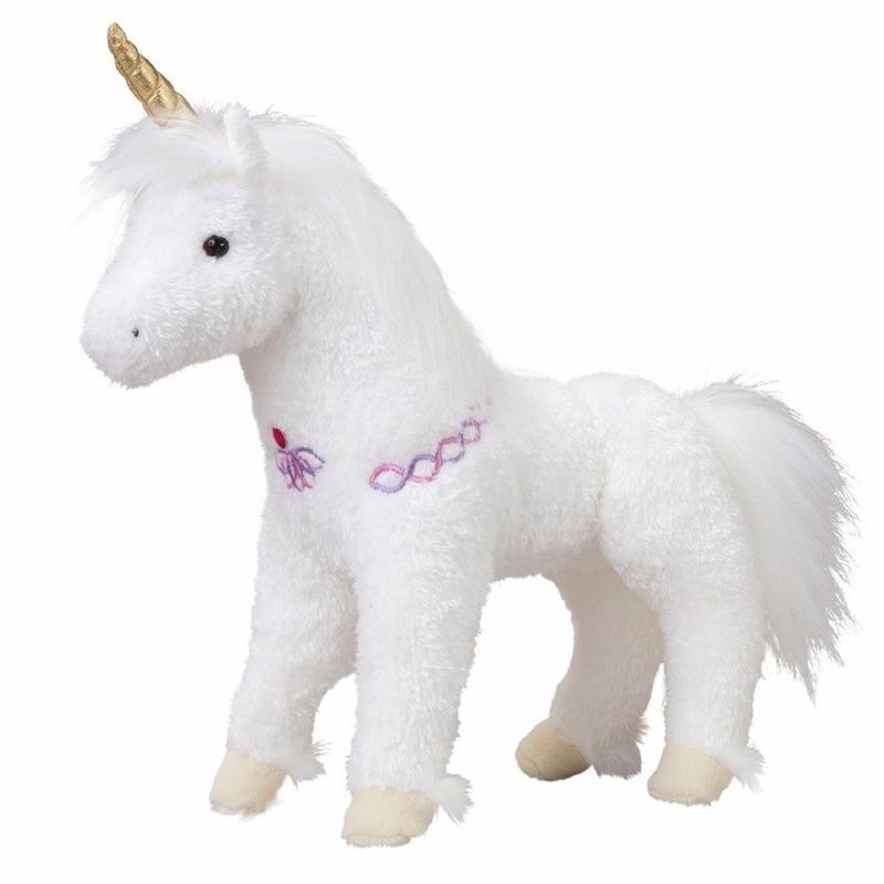 Dieren knuffels Pluche eenhoorn paarden knuffel wit goud 30 cm