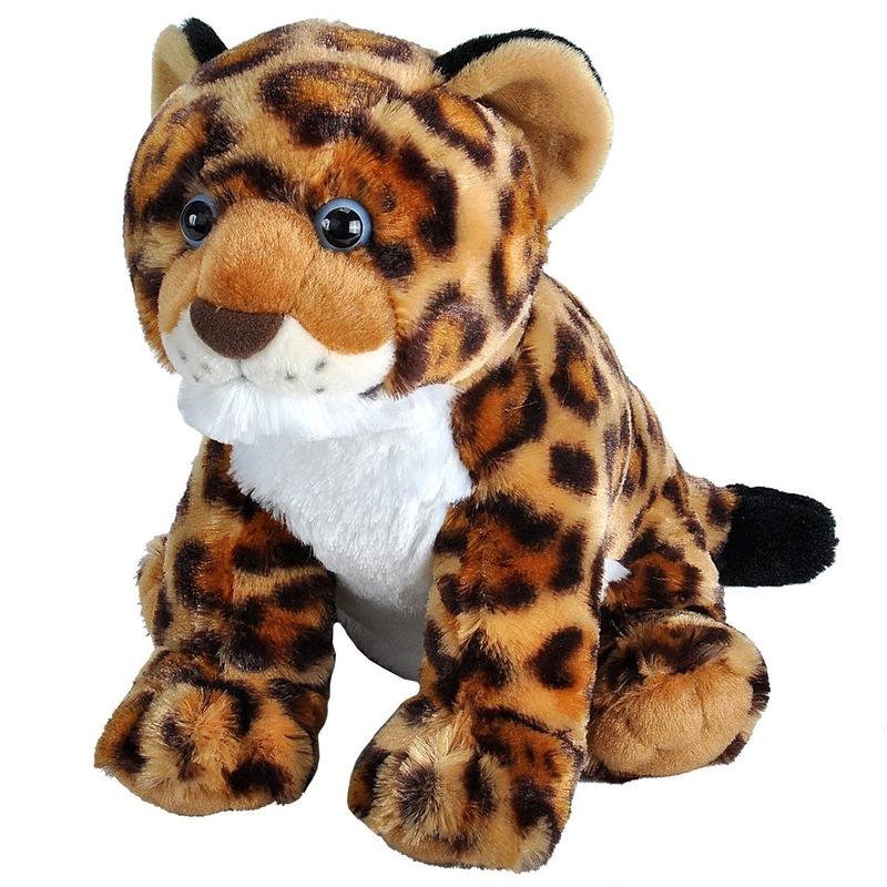 Pluche gevlekte luipaard/jaguar welpje knuffel 30 cm speelgoed