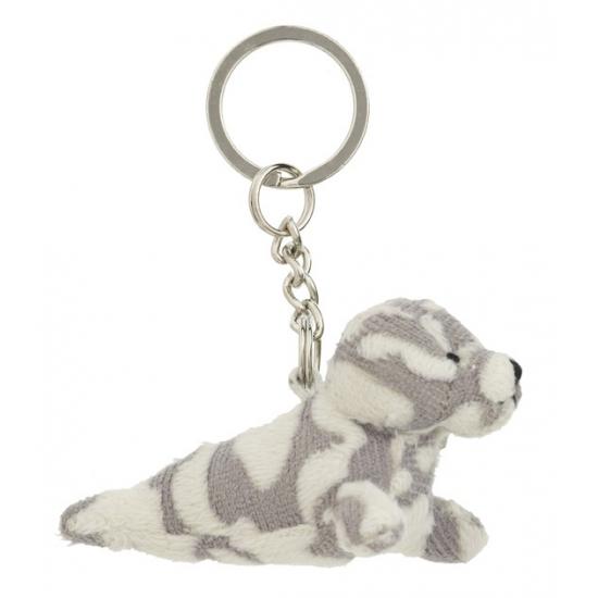 Pluche gevlekte zeehond aan sleutelhanger 8,5 cm
