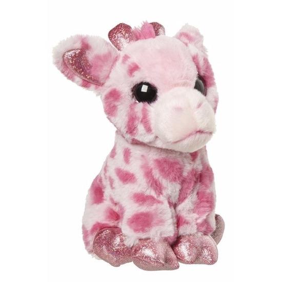 Pluche giraffe knuffel roze 23 cm