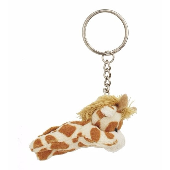 Pluche giraffe sleutelhangertje 6 cm