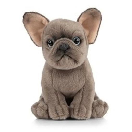 Pluche grijze Franse Bulldog hond knuffel 15 cm speelgoed