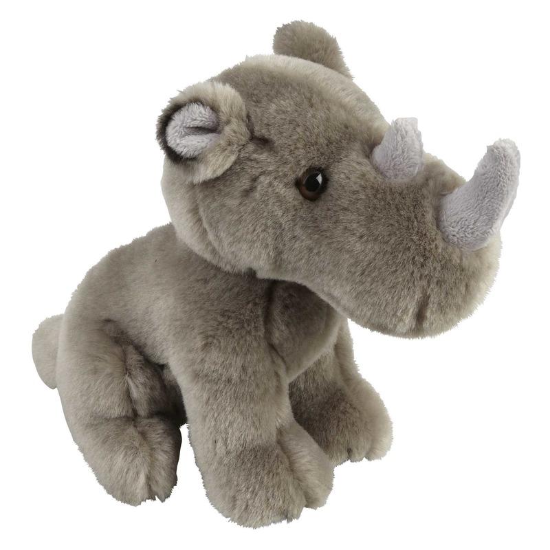 Pluche grijze neushoorn knuffel 18 cm speelgoed