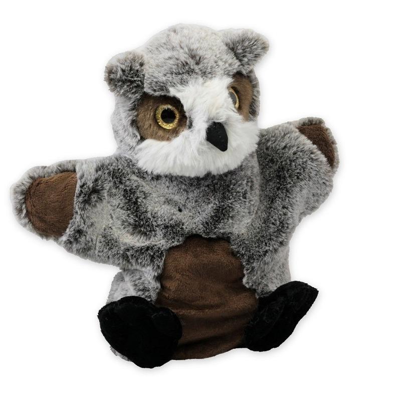 Pluche grijze uil handpop knuffel 22 cm speelgoed