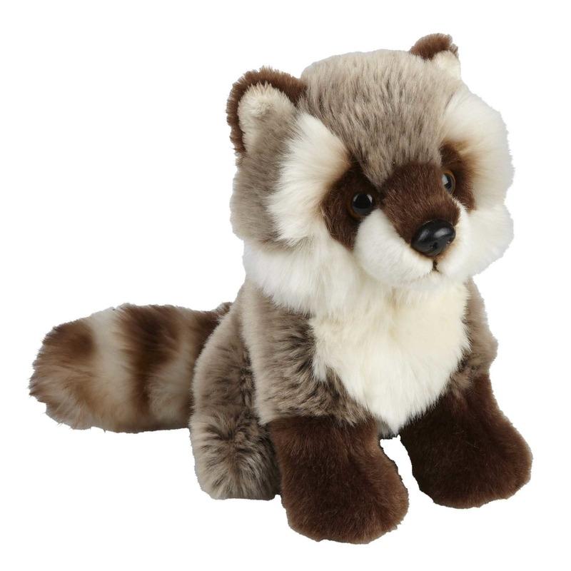 Pluche grijze wasbeer/wasberen knuffel 18 cm speelgoed