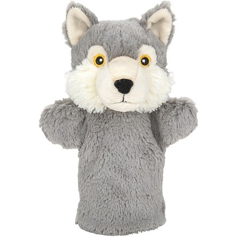 Pluche grijze wolf/wolven handpop knuffel 24 cm speelgoed