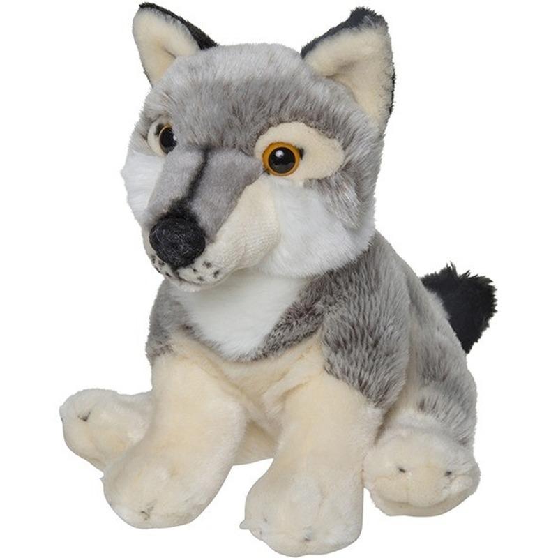 Pluche grijze wolf/wolven knuffel 22 cm speelgoed