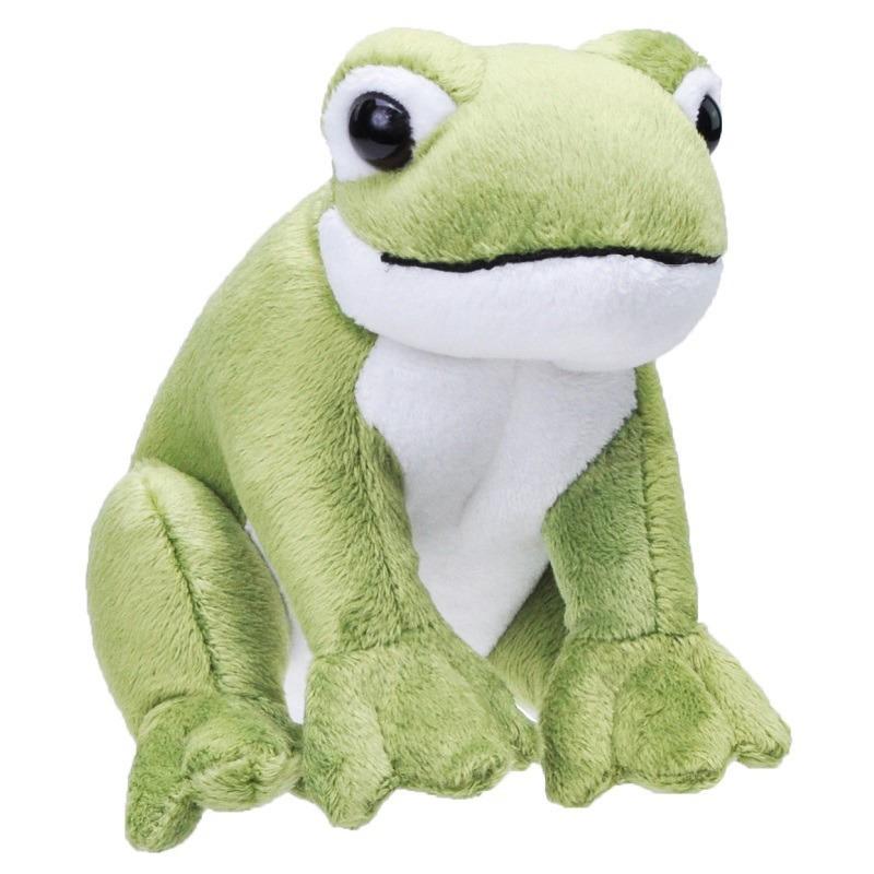 Pluche groene kikker knuffel met geluid 20 cm speelgoed