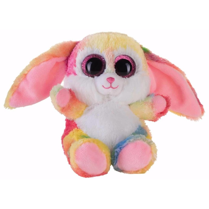 Pluche haas/konijn knuffeltje roze kleuren 15 cm