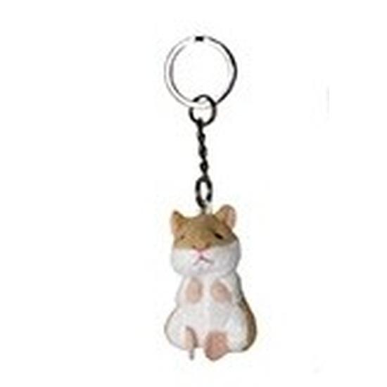 Pluche hamster knuffel sleutelhanger 6 cm