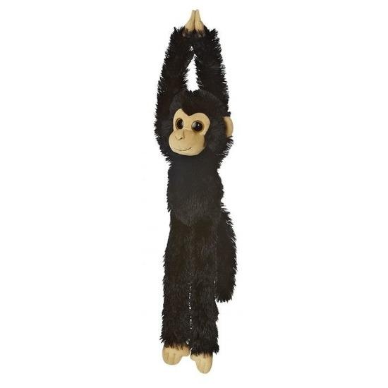 Pluche hangende zwarte chimpansee aap/apen knuffel 49 cm