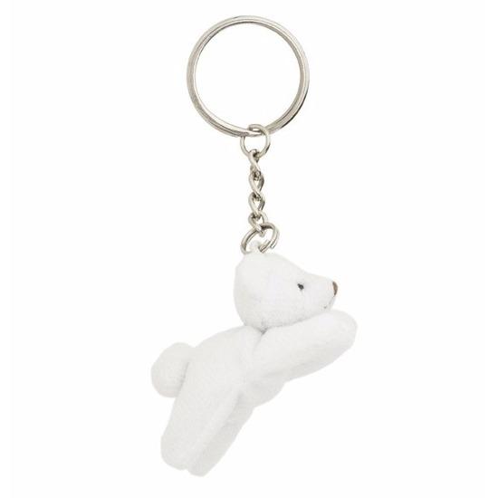 Pluche ijsbeer sleutelhangertjes 6 cm