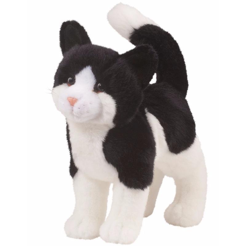 Pluche kat/poes knuffel zwart/wit 30 cm