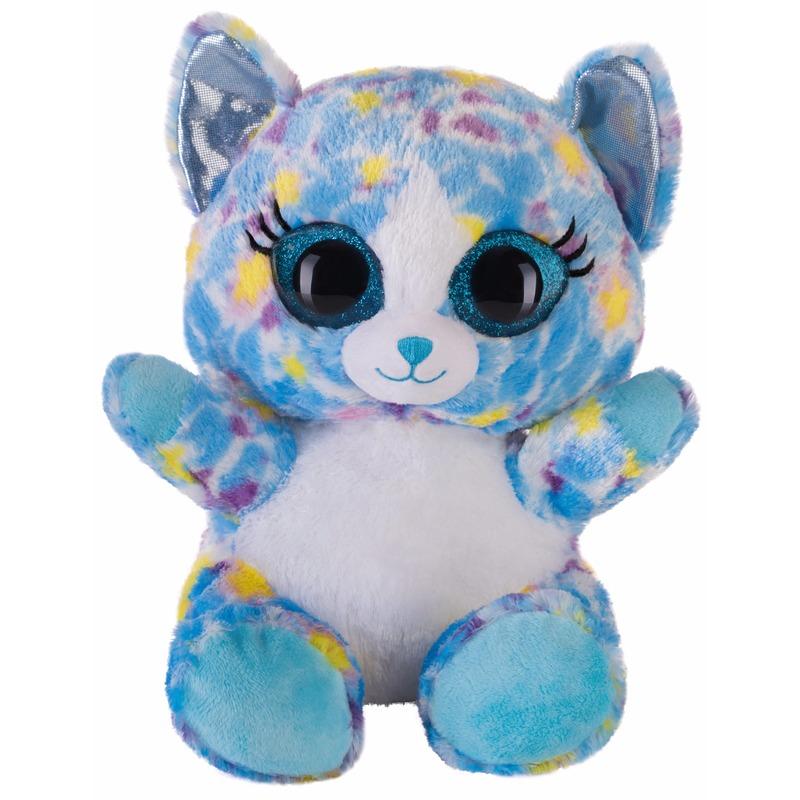 Pluche kat/poes knuffeltje blauw 20 cm