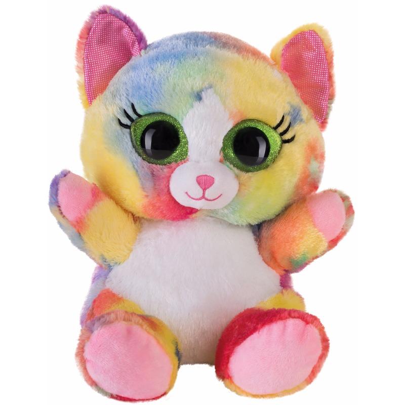 Pluche kat/poes knuffeltje roze 20 cm