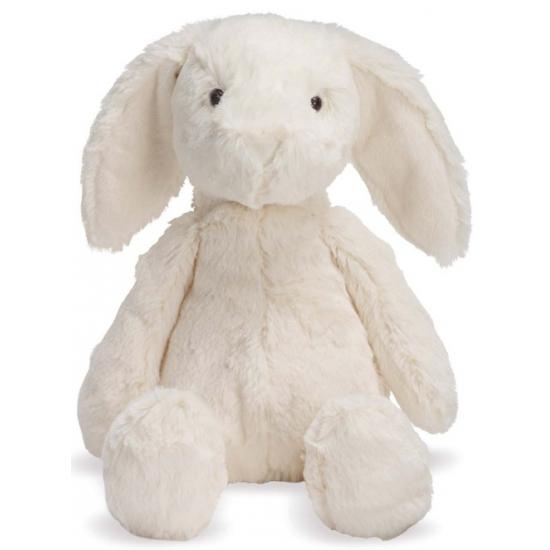 Pluche kinder knuffel konijn wit 19 cm