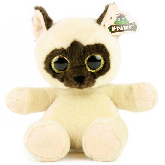 Pluche kitten beige met glitter ogen