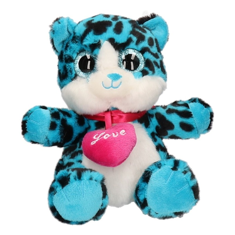 Pluche knuffel blauw kat/poes 22 cm