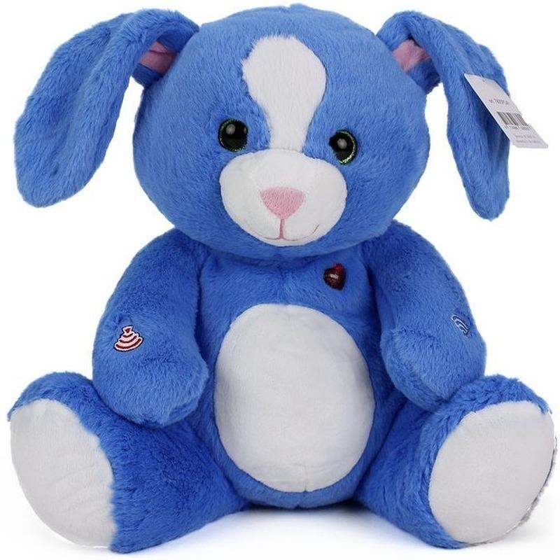 Pluche knuffel blauw konijn 30 cm