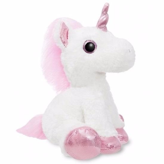 Pluche knuffel eenhoorn roze/wit 30 cm
