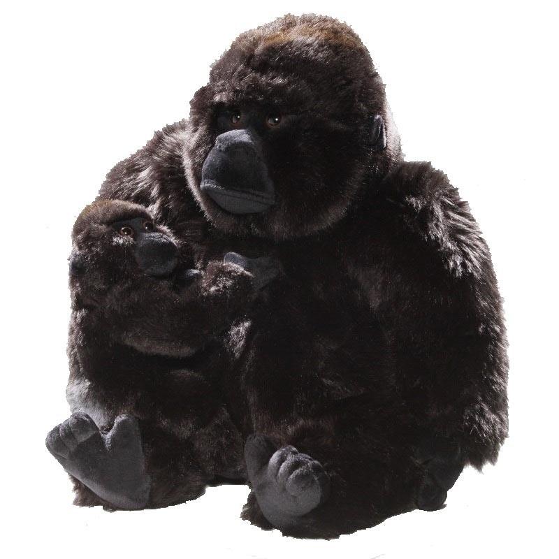 Pluche knuffel gorilla met baby 28 cm
