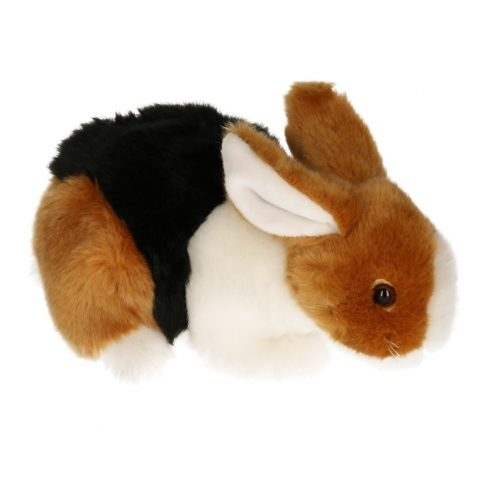 Pluche knuffel konijn bruin/zwart/wit 20 cm