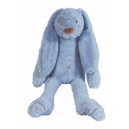 Pluche knuffel konijn donkerblauw 28 cm