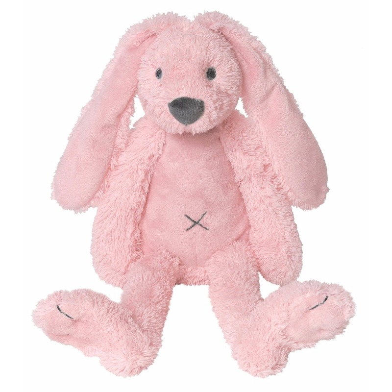 Pluche knuffel konijn roze 28 cm