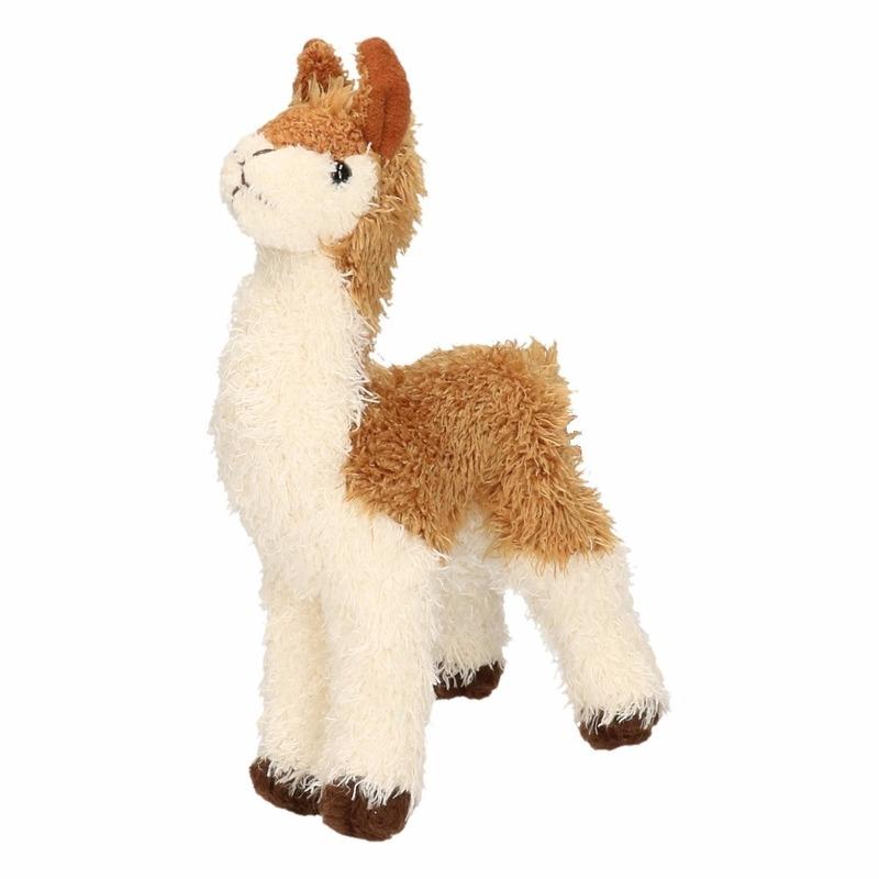 Pluche knuffel lama bruin/wit klein18 cm