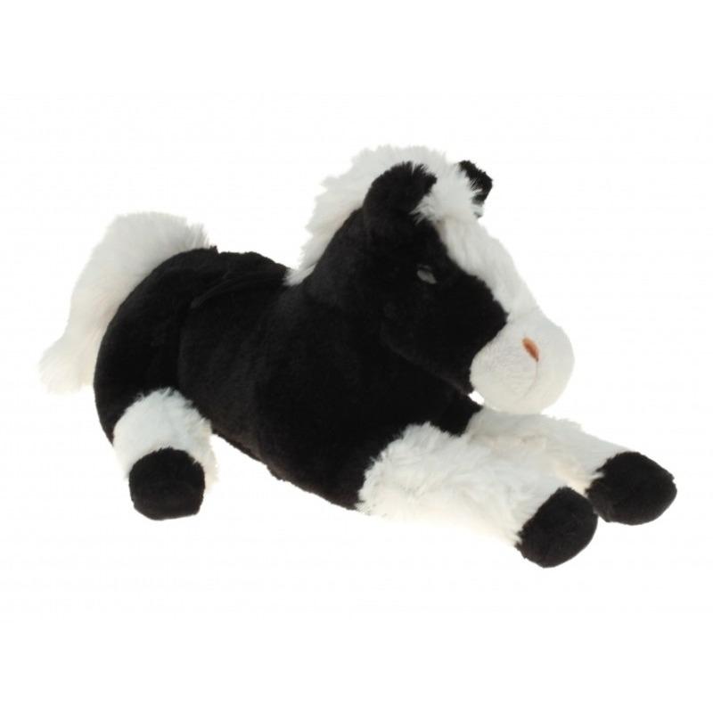 Pluche knuffel paard zwart/wit 30 cm