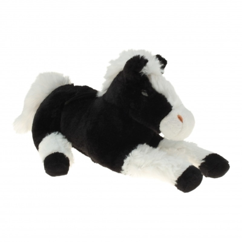 Pluche knuffel paard zwart/wit 60 cm
