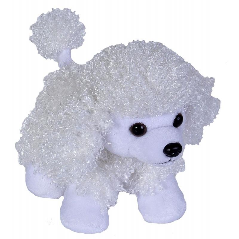 Pluche knuffel Poedel hondje wit 18 cm